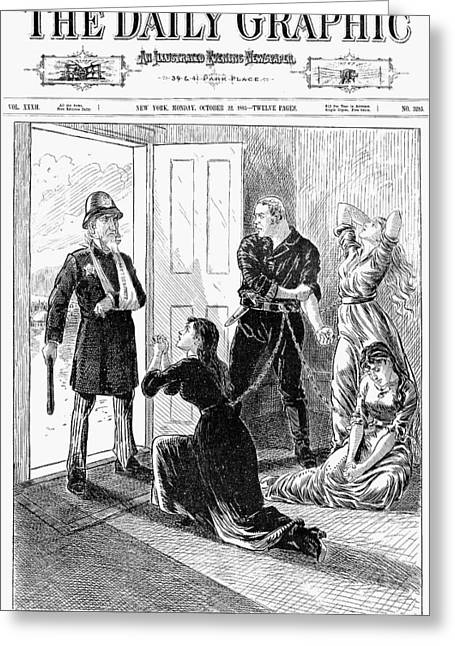 Police Cartoon Greeting Cards - Mormons: Polygamy, 1883 Greeting Card by Granger