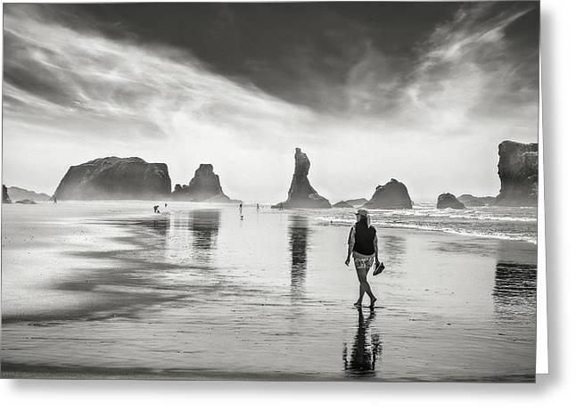 Morning Walk At The Beach Greeting Card by Eduard Moldoveanu