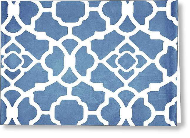 Moroccan Blues Greeting Card by Mindy Sommers