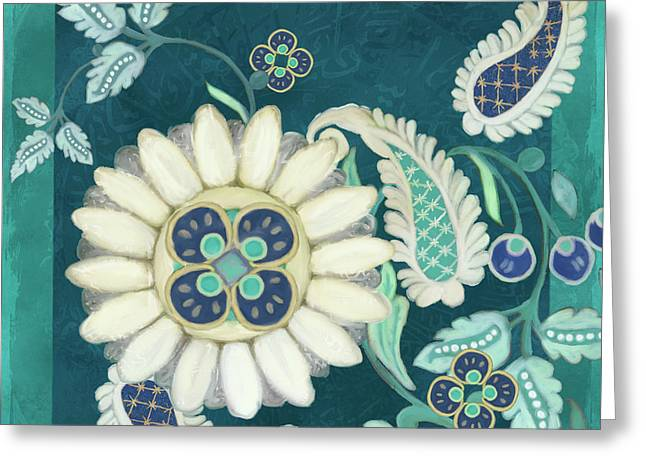 Greeting Card featuring the painting Moroccan Paisley Peacock Blue 1 by Audrey Jeanne Roberts