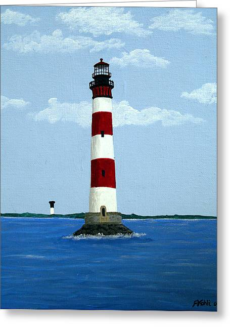 Morris Island Light Greeting Card by Frederic Kohli