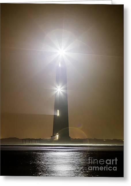 Morris Island Light House 140 Year Anniversary Lighting Greeting Card by Dustin K Ryan