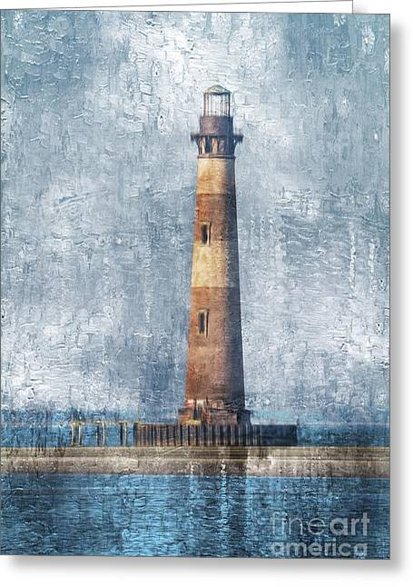 Morris Island Lighthouse Greeting Card by Debbie Green