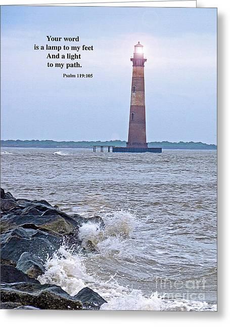 Morris Lighthouse Greeting Card by Linda Vodzak