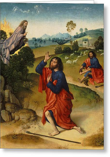 Moses And The Burning Bush Greeting Card by Dieric Bouts
