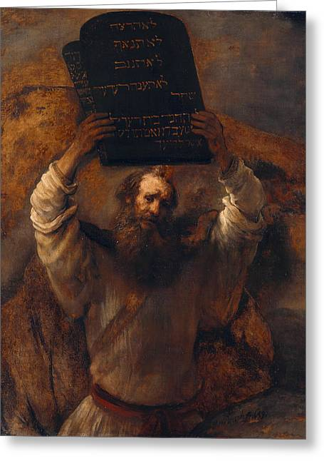Moses With The Ten Commandments Greeting Card by Rembrandt van Rijn