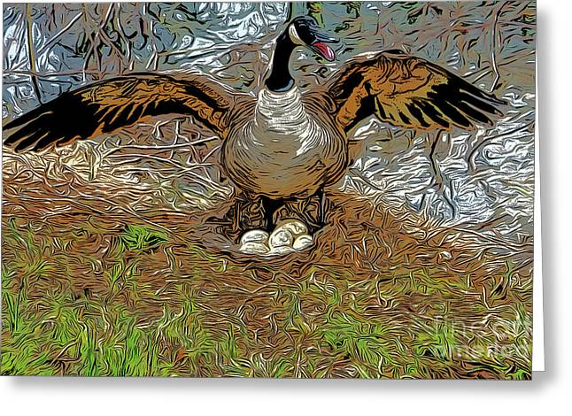 Mother Goose Guards Nest Greeting Card by Chris Taggart