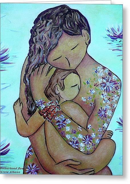Motherhood Flowers All Over Greeting Card