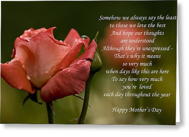 Greeting Card featuring the photograph Mother's Day Card 5 by Michael Cummings
