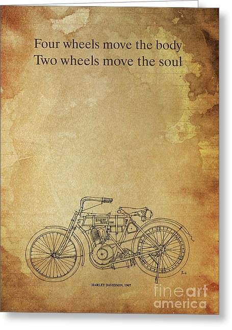 Motorcycle Quote. Four Wheels Move The Body, Two Wheels Move The Soul Greeting Card