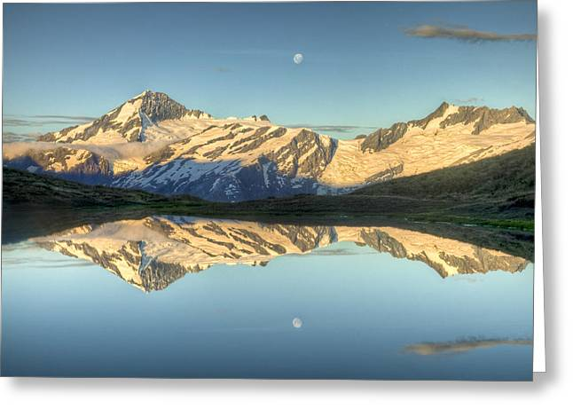 Mount Aspiring Moonrise Over Cascade Greeting Card by Colin Monteath
