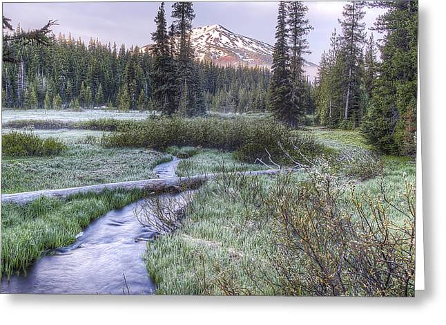 Mount Bachelor From Soda Creek At Sunrise Greeting Card by Twenty Two North Photography