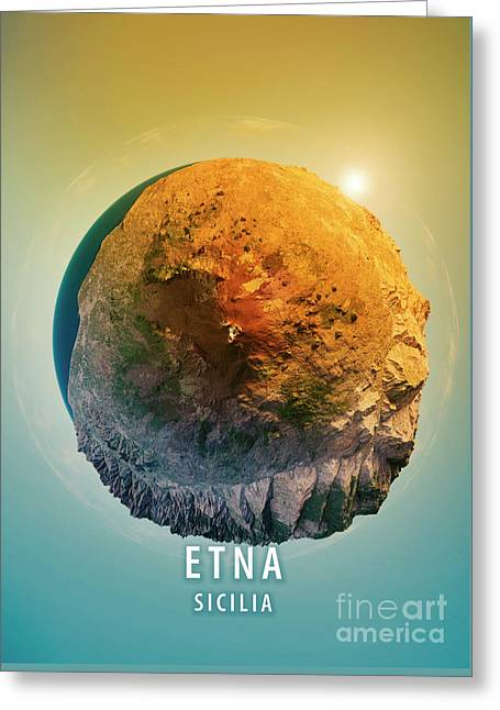 Mount Etna 3d Little Planet 360-degree Sphere Panorama Greeting Card