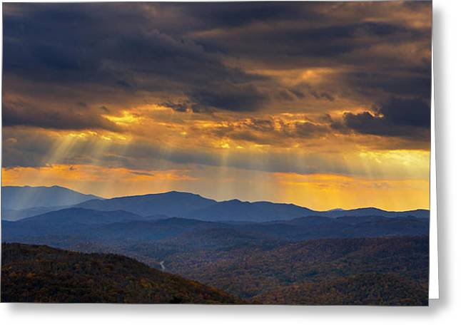 Greeting Card featuring the photograph Mountain God Rays by Ken Barrett