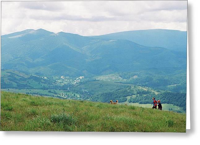 Mountain Landscape In Carpathians Greeting Card by Anton Popov