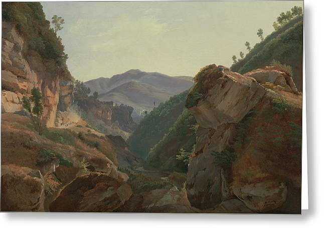 Mountain Landscape With Road To Naples Greeting Card by Jean-Charles-Joseph Remond