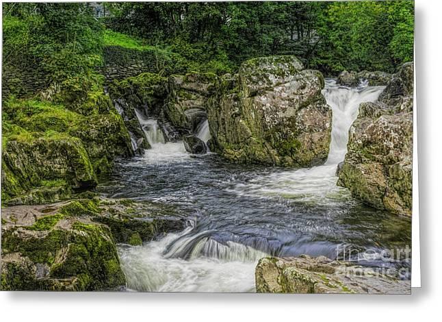 Mountain Waterfall Greeting Card by Ian Mitchell