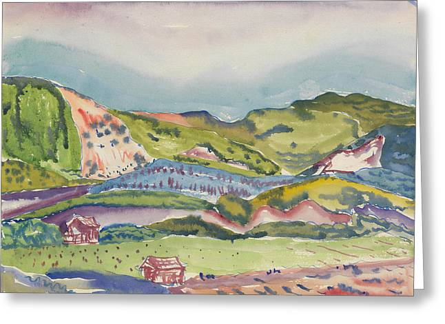 Mountain With Red House Greeting Card by Charles Demuth