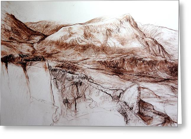 Mountains In Snowdonia Greeting Card by Harry Robertson