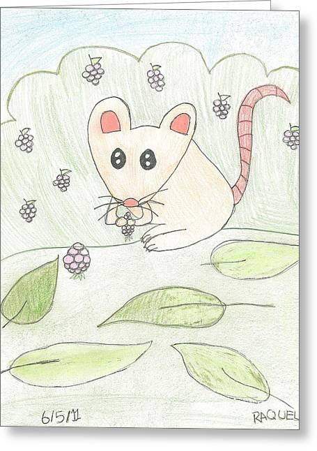 Greeting Card featuring the drawing Mouse Picking Berries by Fred Hanna