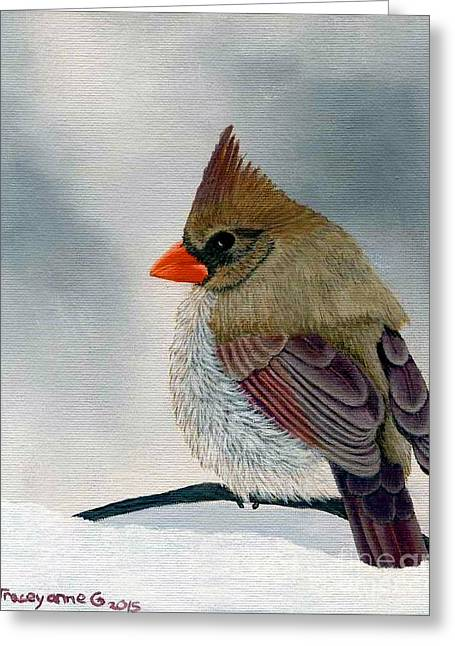 Greeting Card featuring the painting Mrs. Cardinal by Tracey Goodwin