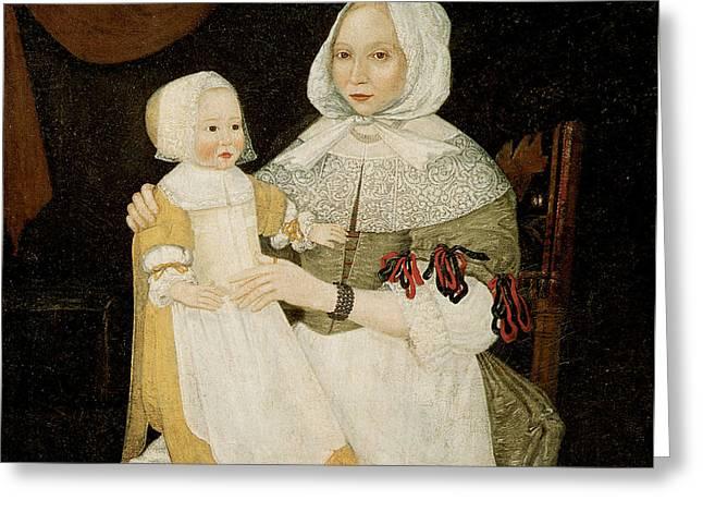 Mrs. Elizabeth Freake And Baby Mary Greeting Card by Freake Limner