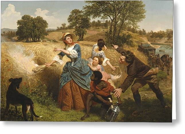 Mrs Schuyler Burning Her Wheat Fields On The Approach Of The British Greeting Card by Emanuel Gottlieb Leutze