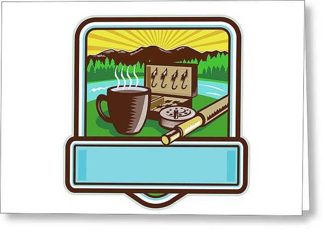 Mug Fly Tackle Bait Box Rod Reel Crest Woodcut Greeting Card