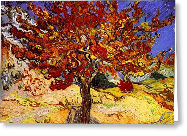 Greeting Card featuring the painting Mulberry Tree by Van Gogh