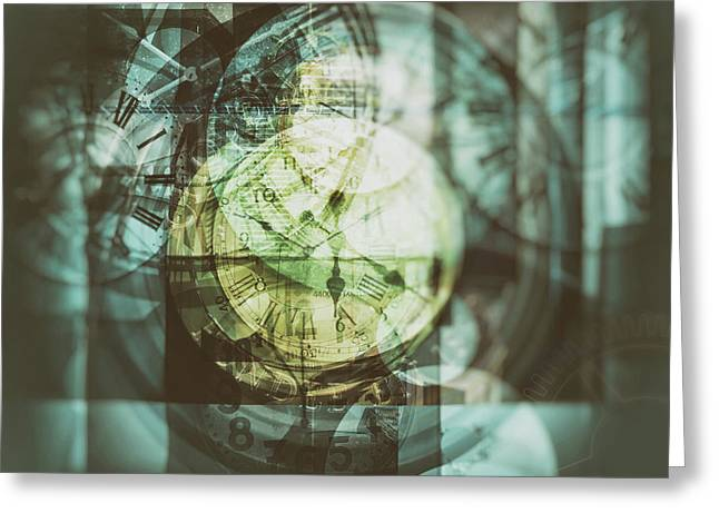 Greeting Card featuring the photograph Multi Exposure Clock   by Ariadna De Raadt