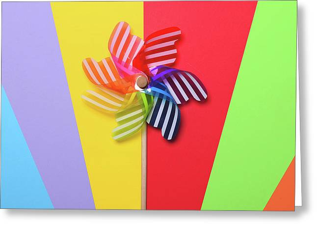 Multicolored Pinwheel On Colorul Backgrounds - Minimal Design Greeting Card