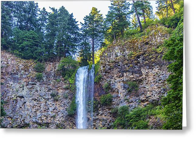 Greeting Card featuring the photograph Multnomah Falls Cliff by Jonny D