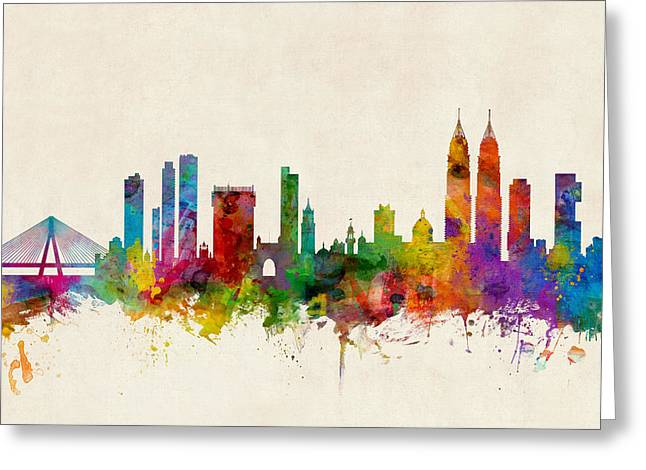 Mumbai Skyline India Bombay Greeting Card by Michael Tompsett