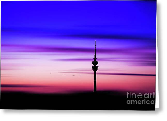 Greeting Card featuring the photograph Munich - Olympiaturm At Sunset by Hannes Cmarits