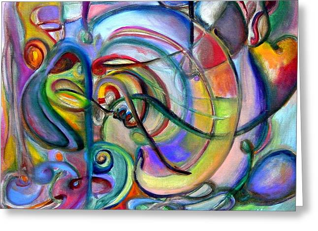 Music Abstract Greeting Card by Kathy Dueker
