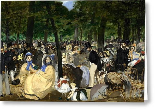 Music In The Tuileries Greeting Card by Edouard Manet