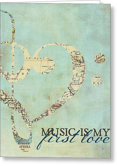 Music Is My First Love V3 Greeting Card by Brandi Fitzgerald
