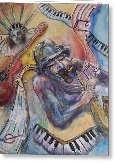 Music Man Greeting Card by Lee Anne Stieglitz