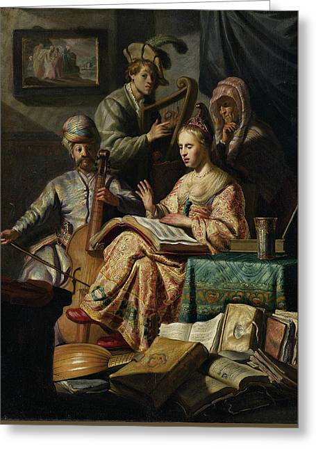 Music Rend Company Greeting Card by Rembrandt van Rijn