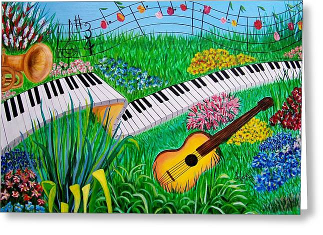 Musical Garden Greeting Card by Kathern Welsh