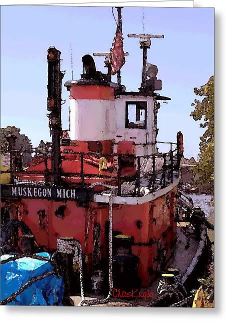 Muskegon Tug Greeting Card by Chuck Kugler