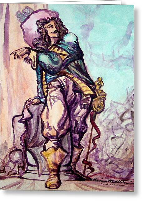 Musketeer Greeting Card by Kevin Middleton