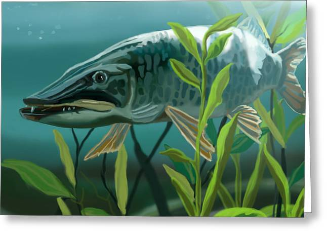 Muskellunge Greeting Cards - Muskie Lurking Greeting Card by Tina Hariu