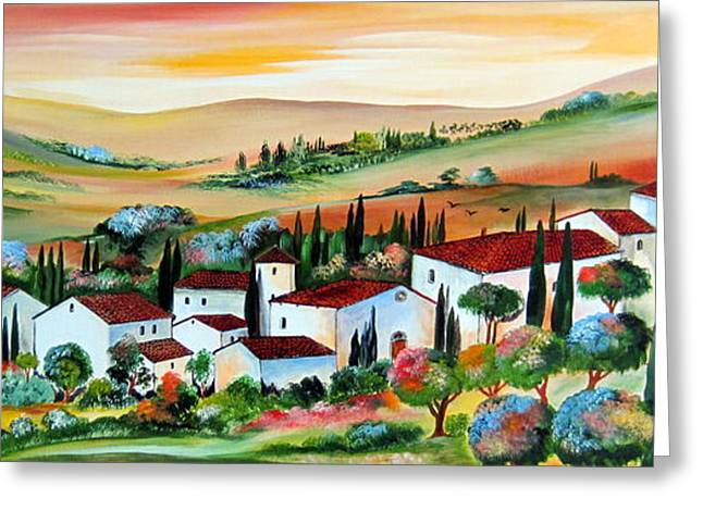 Greeting Card featuring the painting My Dream Village by Roberto Gagliardi