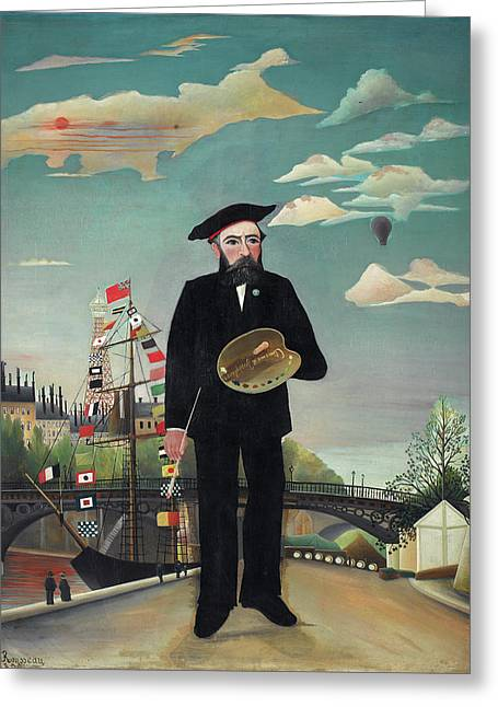 Myself Portrait Landscape  Greeting Card by Henri Rousseau