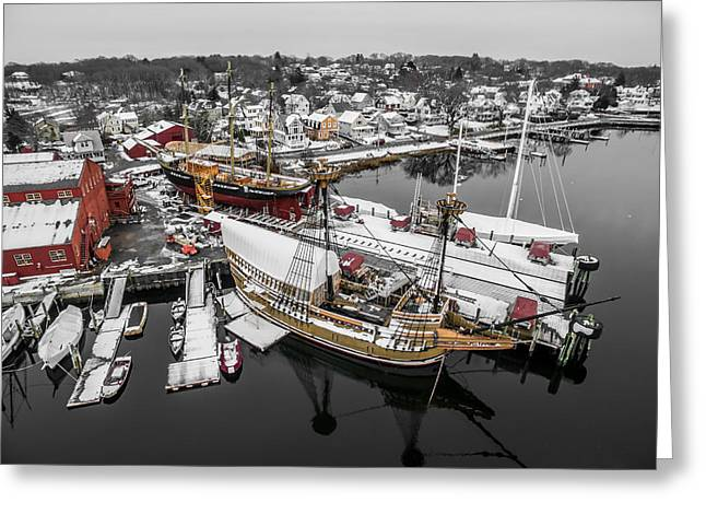 Greeting Card featuring the photograph Mystic Seaport In Winter by Petr Hejl