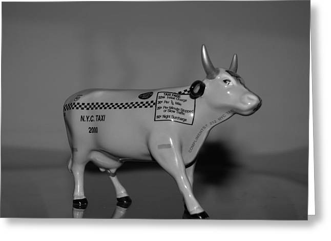 N Y C Taxi Cow Greeting Card by Rob Hans
