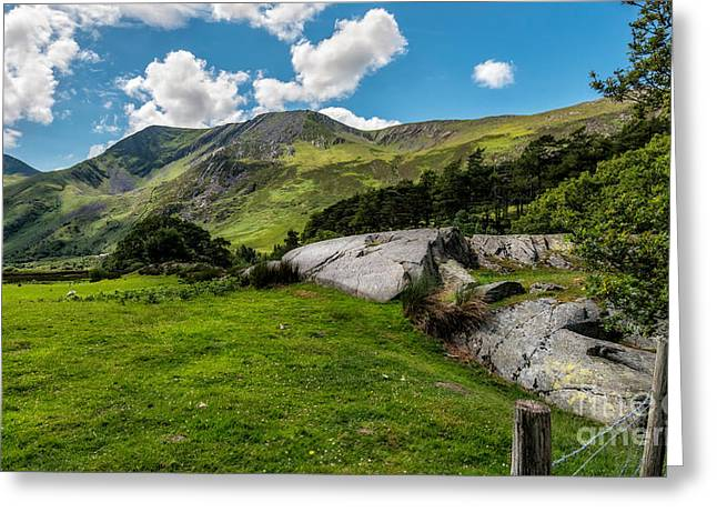 Nant Ffrancon Pass  Greeting Card by Adrian Evans