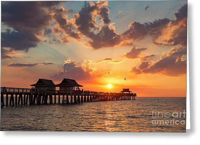 Greeting Card featuring the photograph Naples Pier At Sunset by Brian Jannsen