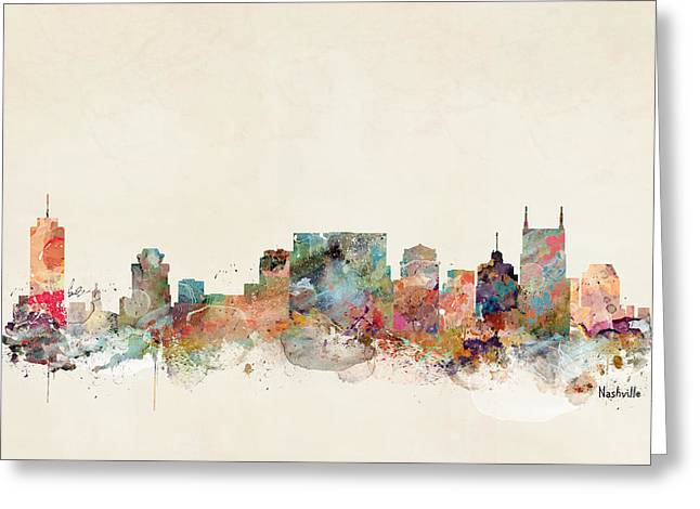Nashville Tennessee Skyline  Greeting Card